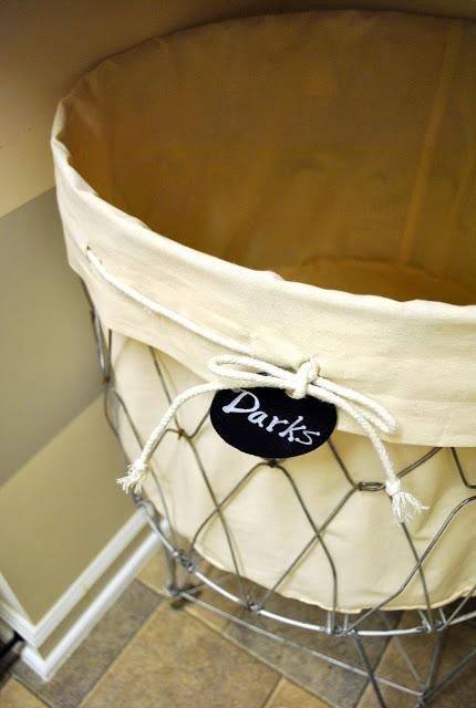 Labeled laundry basket for separating laundry.