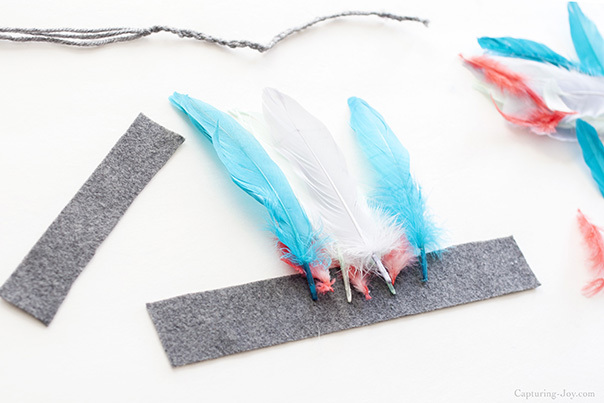 summer kids craft with feathers