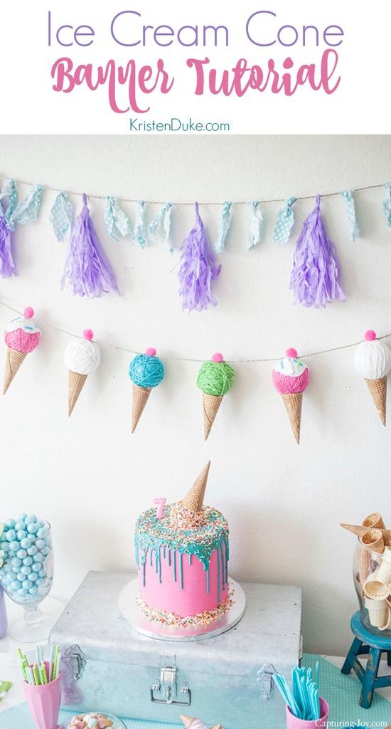 Ice Cream Cone Banner Tutorial