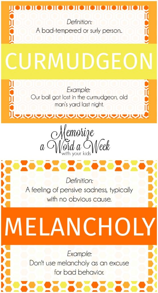 Memorize a word a week with your kids: Family Fun activity