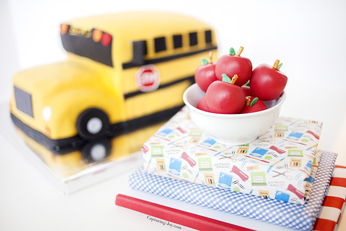 apple shaped cake balls with school bus cake