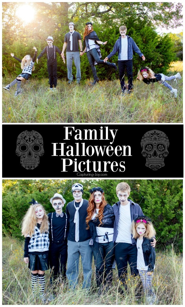 Family Halloween Pictures as Day of the Dead Sugar Skulls with Levitating