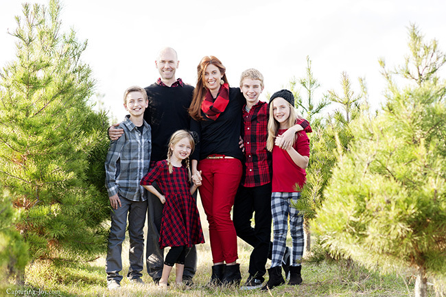 Family pictures at Christmas tree farm