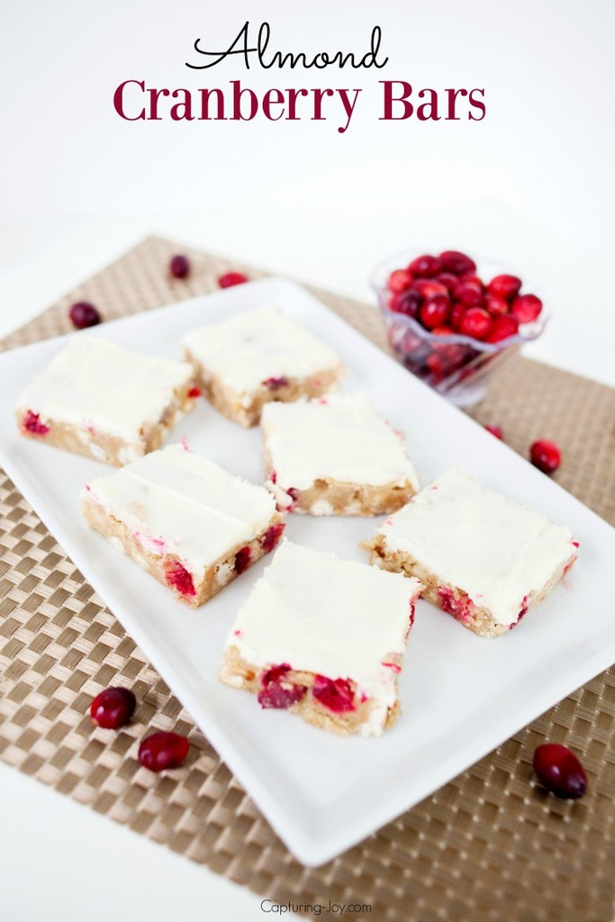 Almond cranberry bars with cream cheese frosting // Capturing-Joy.com