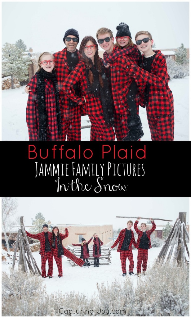 Buffalo Plaid Christmas Jammie Family Pictures in the Snow