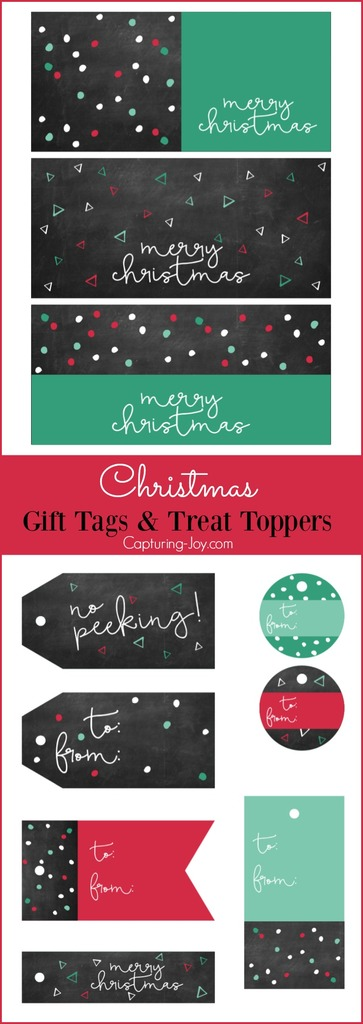 Chalkboard Christmas gift tags and Treat toppers