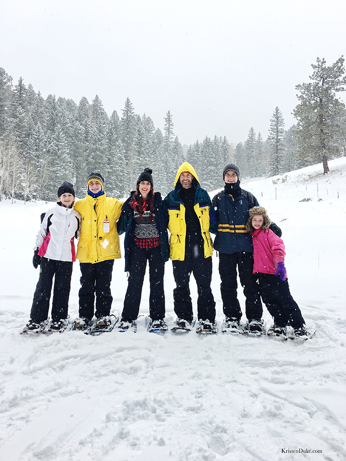 Family Picture in snow shoes