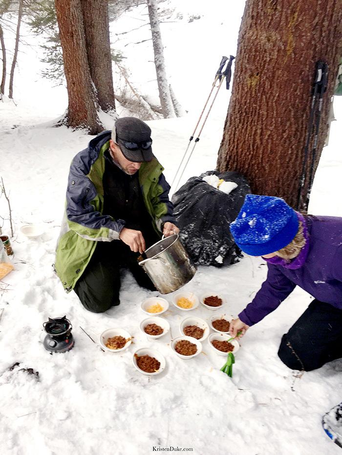 chili dinner on hike
