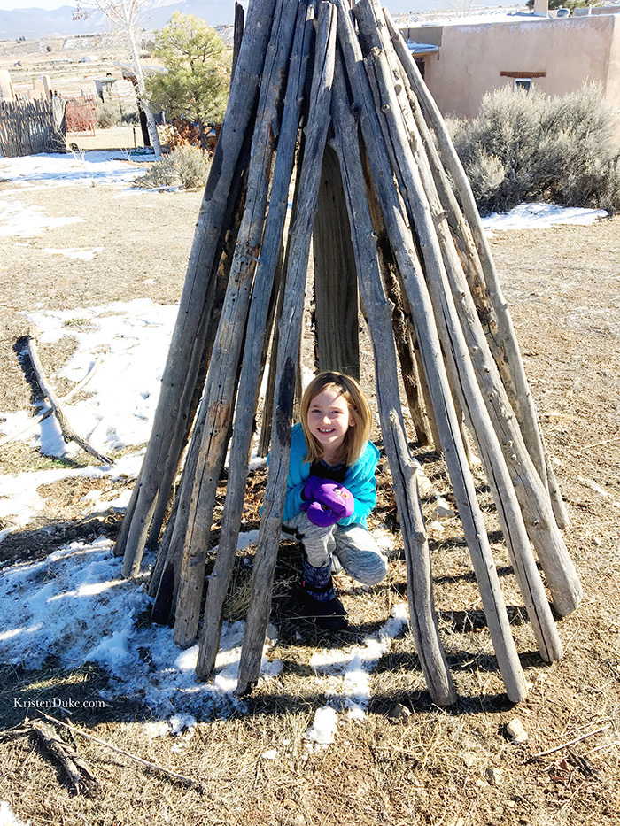 wood teepee in taos