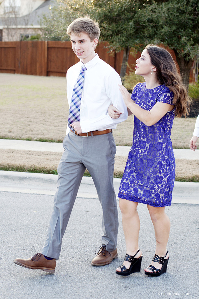 Teen couple heading to a dance picture