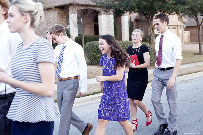 Teenagers walking to a dance picture