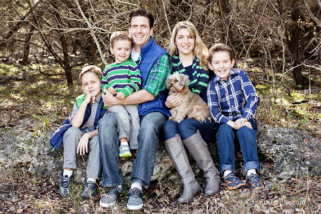 Family Pictures in blue and green clothes