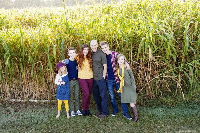 family pictures at corn maze