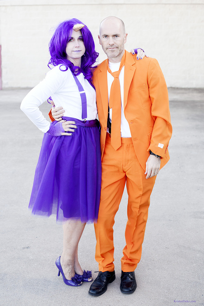 Orange and purple couples Halloween costume