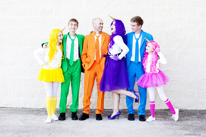 colorful family halloween costumes