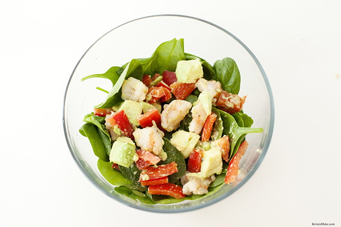 Spinach shrimp salad
