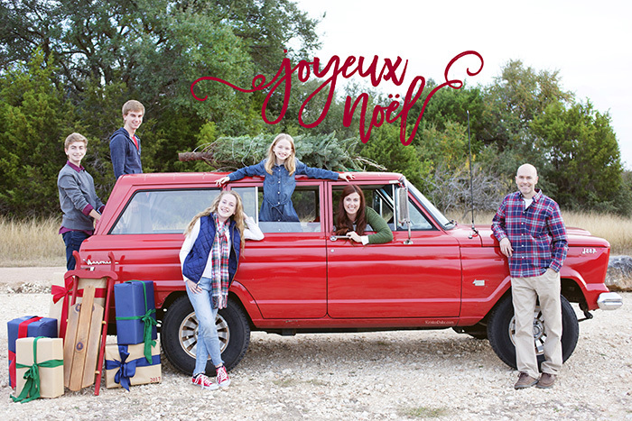 Red Truck with Christmas Tree Christmas Card