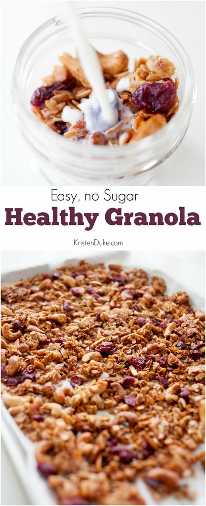 homemade healthy granola in a jar with milk