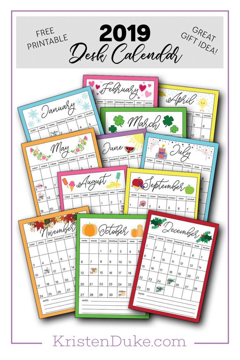 Free 2019 Desk Calendar printable