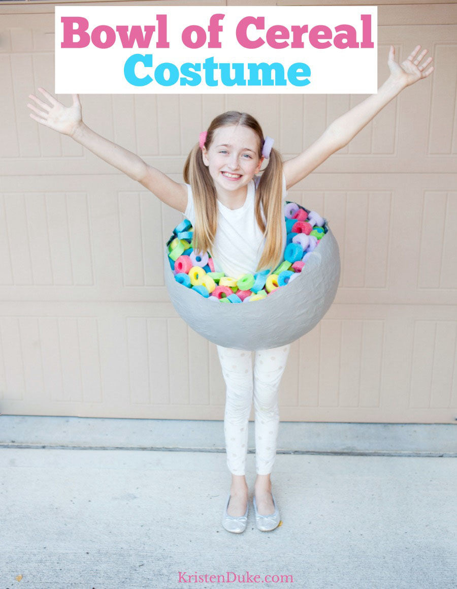 young girl in a bowl of cereal costume