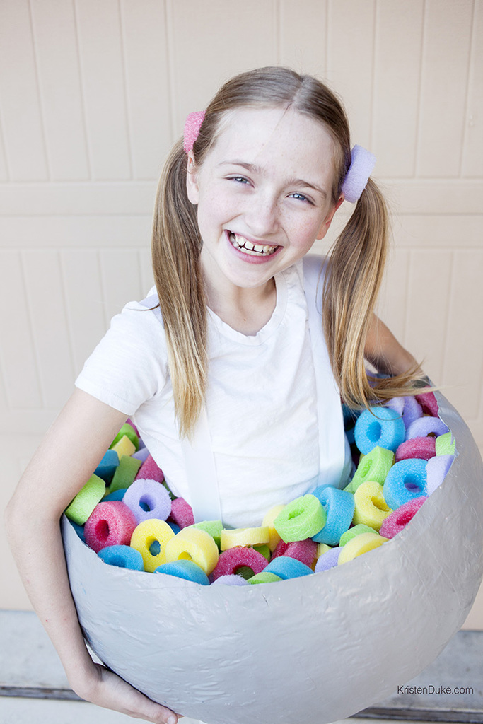 girl in fruit loops costume