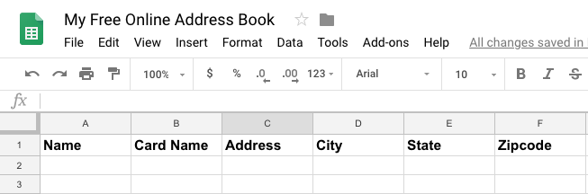 spread sheet for online address book