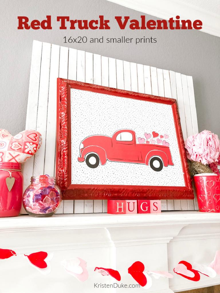 Red Truck Valentine Print