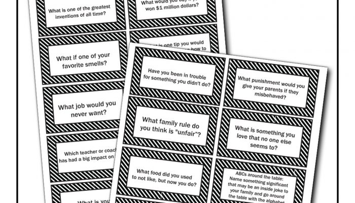 family dinner conversation cards