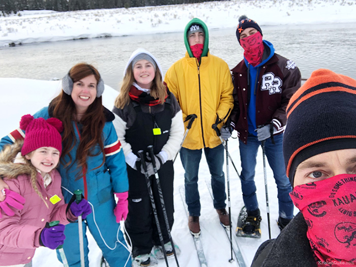 family snow shoeing