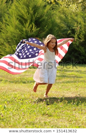 American flag with girl